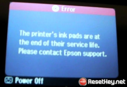 The Printer's Ink Pads at the end of Their service life error