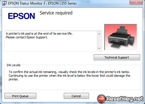 The Printer's Ink Pad is at the end of its service life. Please contact Epson Support